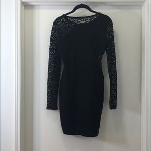 BCBG Bodycon Dress with Lace Sleeves & Cut-out